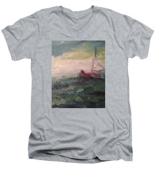 Stormy Sailboat Men's V-Neck T-Shirt by Roxy Rich