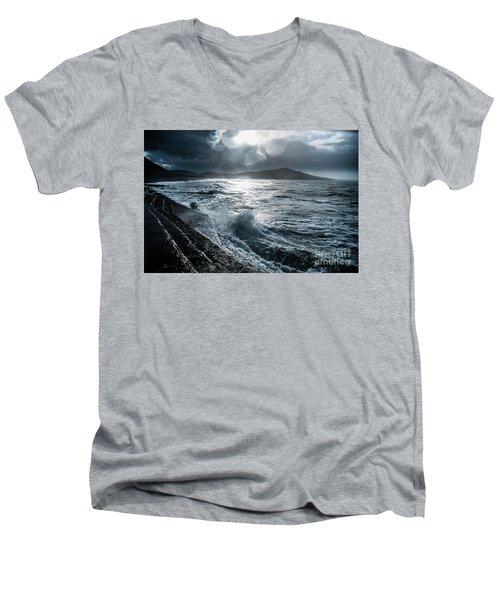 Stormy Seas At Tanybwlch Aberystwyth Men's V-Neck T-Shirt
