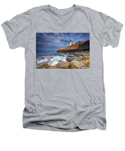 Stormy Skies At Portland Head Men's V-Neck T-Shirt by Rick Berk
