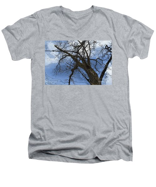 Stormy Sky Blue Men's V-Neck T-Shirt