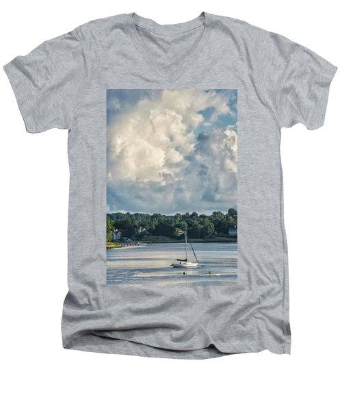 Stormy Sunday Morning On The Navesink River Men's V-Neck T-Shirt