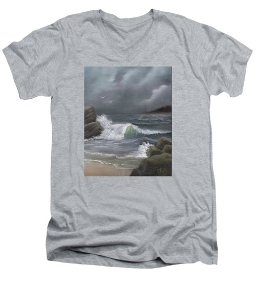 Men's V-Neck T-Shirt featuring the painting Stormy Waters by Sheri Keith