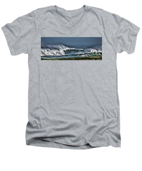 Stormy Winter Waves Men's V-Neck T-Shirt by Shirley Mangini