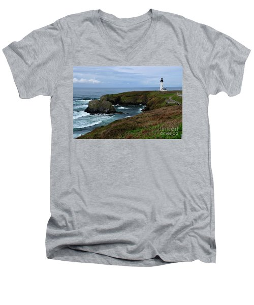 Stormy Yaquina Head Lighthouse Men's V-Neck T-Shirt