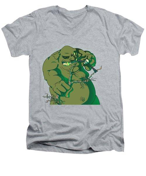 Storybook Ogre Shooting Heads Men's V-Neck T-Shirt