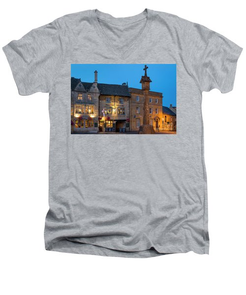 Men's V-Neck T-Shirt featuring the photograph Stow On The Wold - Twilight by Brian Jannsen