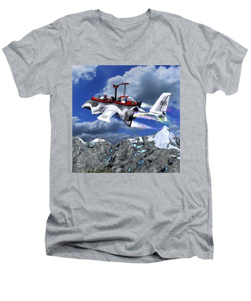 Stowing The Lift Men's V-Neck T-Shirt by Dave Luebbert