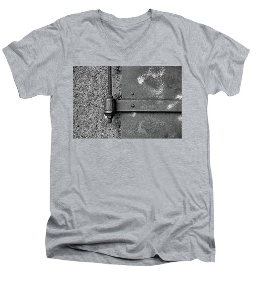 Men's V-Neck T-Shirt featuring the photograph Straight Metal by Karol Livote
