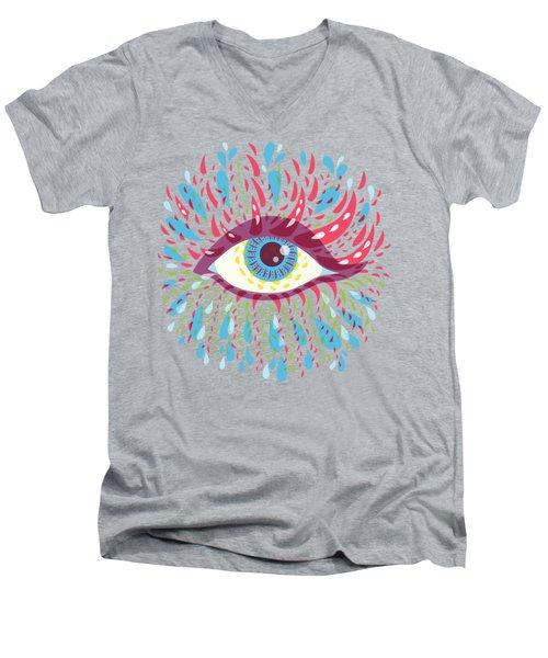 Strange Blue Psychedelic Eye Men's V-Neck T-Shirt by Boriana Giormova