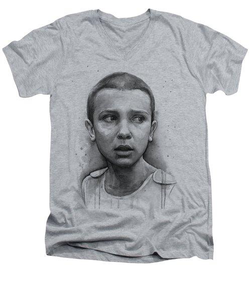 Stranger Things Eleven Upside Down Art Portrait Men's V-Neck T-Shirt
