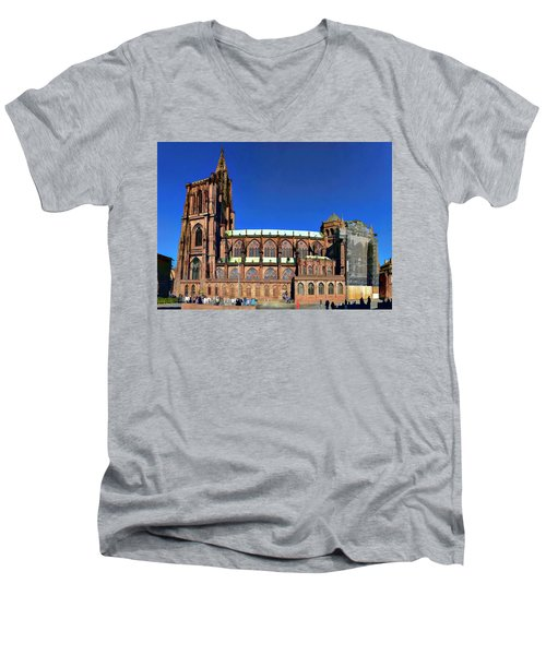 Men's V-Neck T-Shirt featuring the photograph Strasbourg Catheral by Alan Toepfer