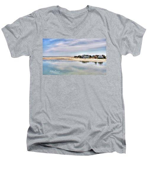 Strathmere Men's V-Neck T-Shirt by John Loreaux