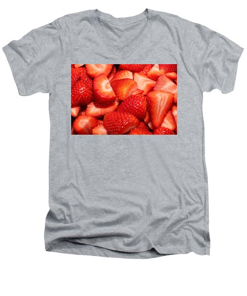 Strawberries 32 Men's V-Neck T-Shirt by Michael Fryd