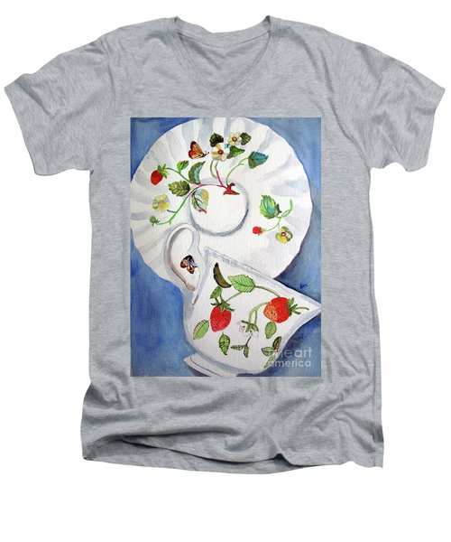 Strawberry Cup And Saucer Men's V-Neck T-Shirt by Sandy McIntire