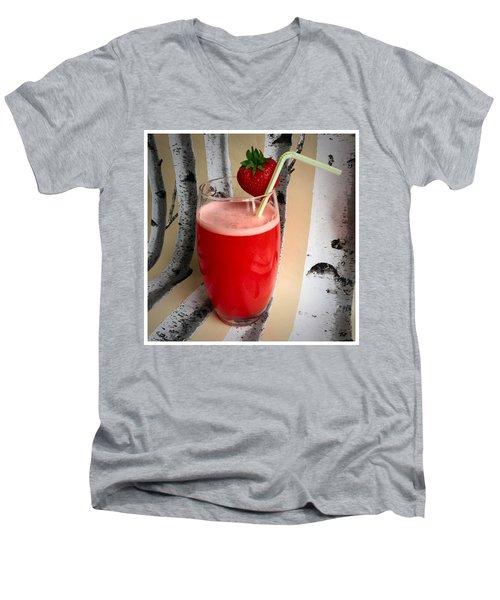 Strawberry Juice Men's V-Neck T-Shirt by Kate V