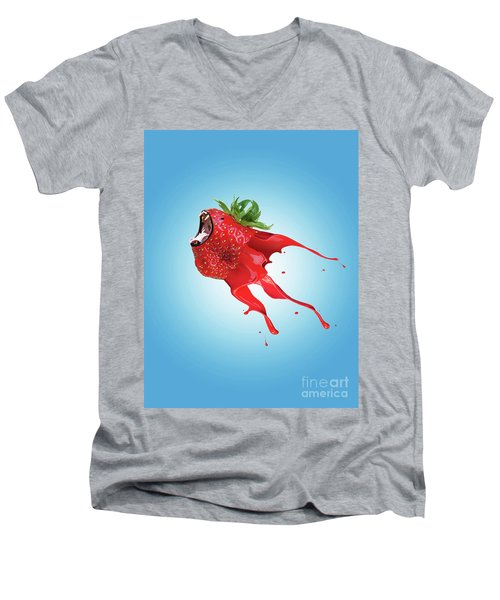 Men's V-Neck T-Shirt featuring the photograph Strawberry by Juli Scalzi