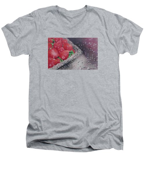 Strawberry Splash Men's V-Neck T-Shirt by Pamela Clements