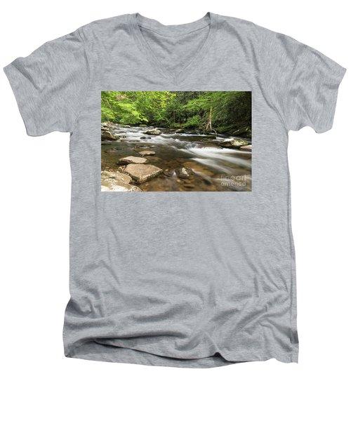 Stream In The Smokies Men's V-Neck T-Shirt