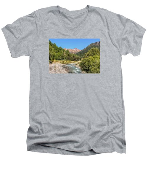 Streaming Through The Alps Men's V-Neck T-Shirt by Brent Durken