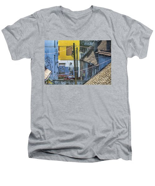 Street Art In Novi Sad - Angler Men's V-Neck T-Shirt