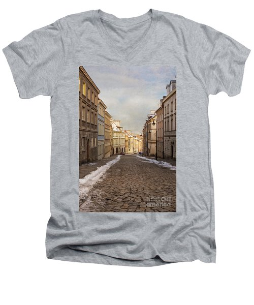 Men's V-Neck T-Shirt featuring the photograph Street In Warsaw, Poland by Juli Scalzi