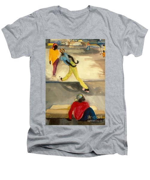 Street Scene Men's V-Neck T-Shirt by Daun Soden-Greene