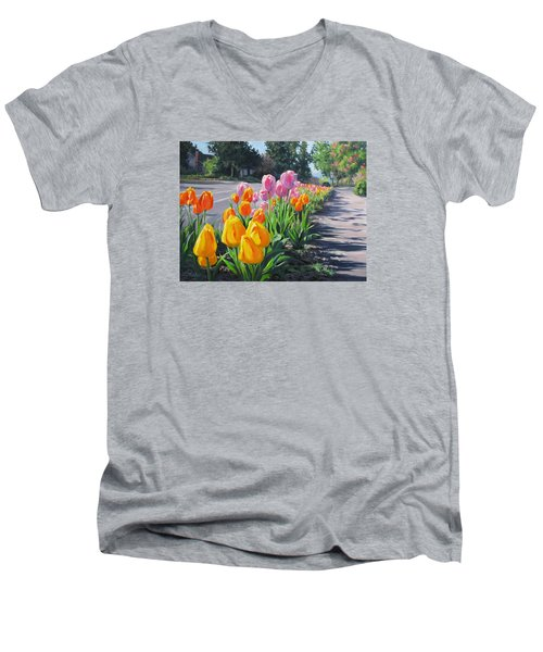 Men's V-Neck T-Shirt featuring the painting Street Tulips by Karen Ilari