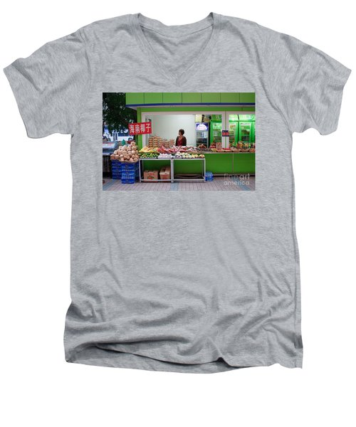 Street Vendor  Beijing Men's V-Neck T-Shirt