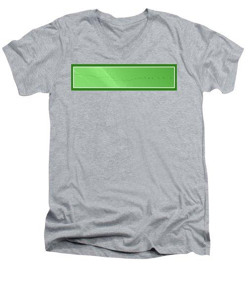 String Of Birds In Green Men's V-Neck T-Shirt