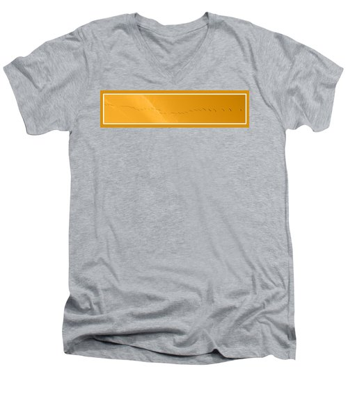 String Of Birds In Orange Men's V-Neck T-Shirt