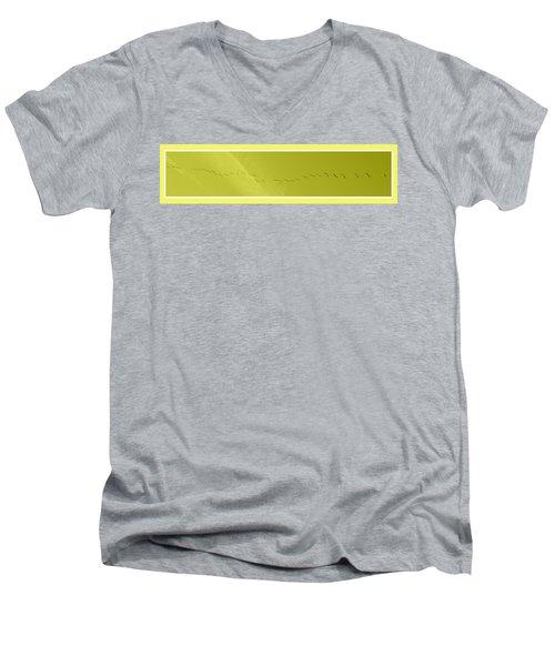 String Of Birds In Yellow Men's V-Neck T-Shirt