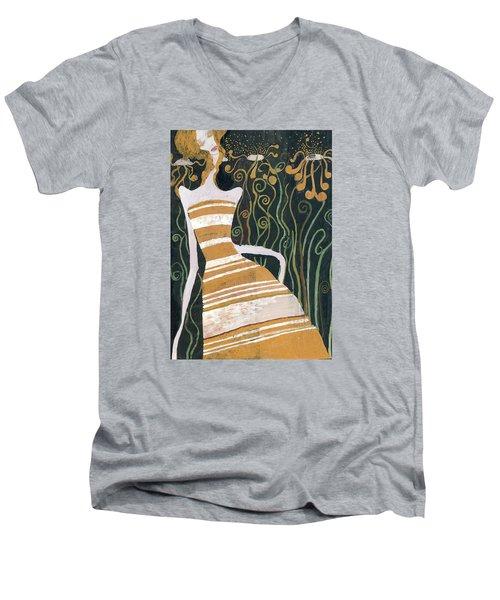 Men's V-Neck T-Shirt featuring the painting Stripe Dress by Maya Manolova