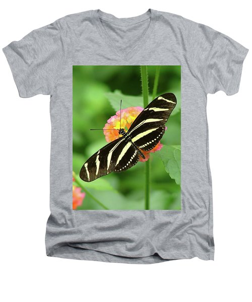 Striped Butterfly Men's V-Neck T-Shirt by Wendy McKennon