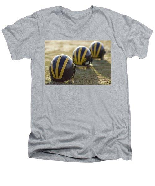 Striped Helmets On A Yard Line Men's V-Neck T-Shirt