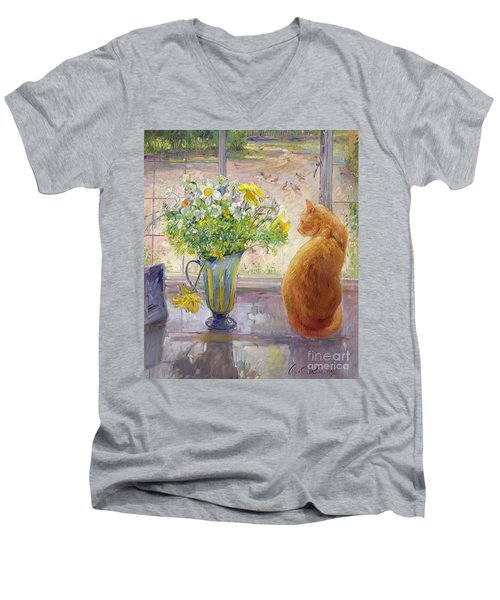 Striped Jug With Spring Flowers Men's V-Neck T-Shirt by Timothy Easton