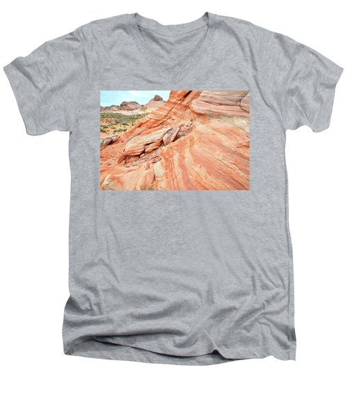 Men's V-Neck T-Shirt featuring the photograph Striped Sandstone Along Park Road In Valley Of Fire by Ray Mathis