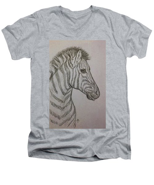 Men's V-Neck T-Shirt featuring the drawing Striped Stud by Jennifer Hotai