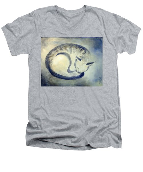 Stripey Cat 3 Men's V-Neck T-Shirt by Dina Dargo