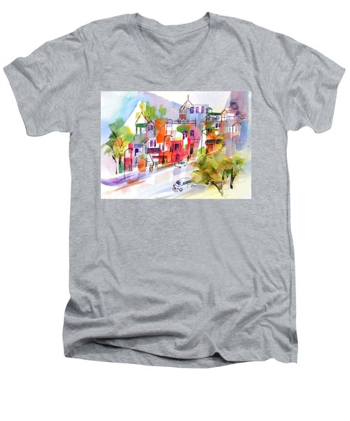 Stroll In Montreal Men's V-Neck T-Shirt by Betty M M Wong