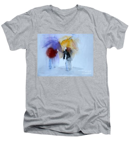 Strolling In The Rain Men's V-Neck T-Shirt