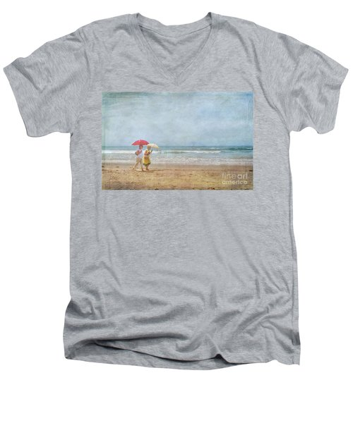 Men's V-Neck T-Shirt featuring the photograph Strolling On The Beach by David Zanzinger