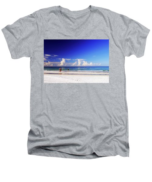 Men's V-Neck T-Shirt featuring the photograph Strolling The Beach by Gary Wonning