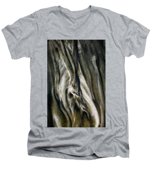 Men's V-Neck T-Shirt featuring the photograph Study In Brown Abstract Sands by Rikk Flohr