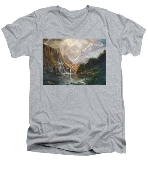 Men's V-Neck T-Shirt featuring the painting Study In Nature by Donna Tucker