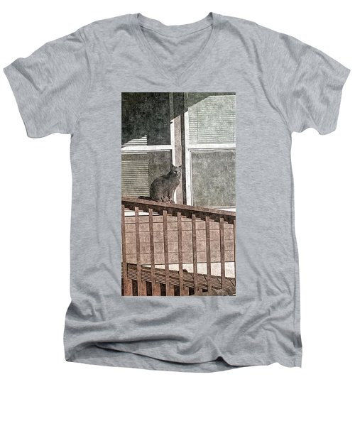 Study Of Lines With Cat Men's V-Neck T-Shirt by Karl Reid