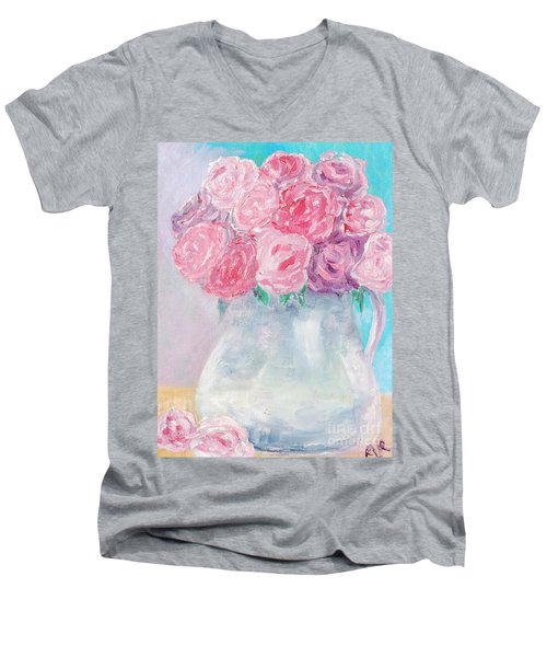 Men's V-Neck T-Shirt featuring the painting Study  by Reina Resto