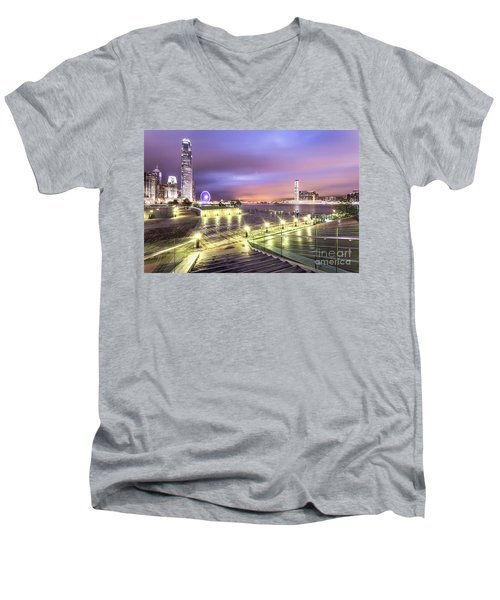 Stunning Night View Of The Famous Hong Kong Island Skyline And V Men's V-Neck T-Shirt