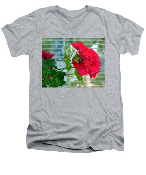 Stunning Red Geranium Men's V-Neck T-Shirt