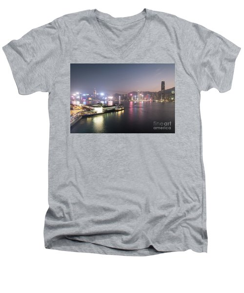Stunning View Of The Twilight Over The Victoria Harbor And Star  Men's V-Neck T-Shirt