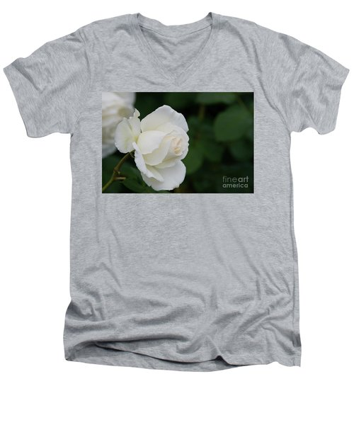 Stunning White Tineke Rose Men's V-Neck T-Shirt